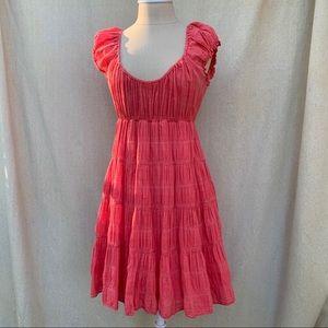 MAX STUDIO Pink Tiered Cottage Core Mini Dress